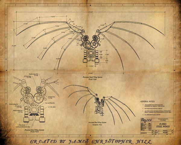 Steampunk_Wing_by_AeroNumijpg (758×1053) love Pinterest - new old blueprint art