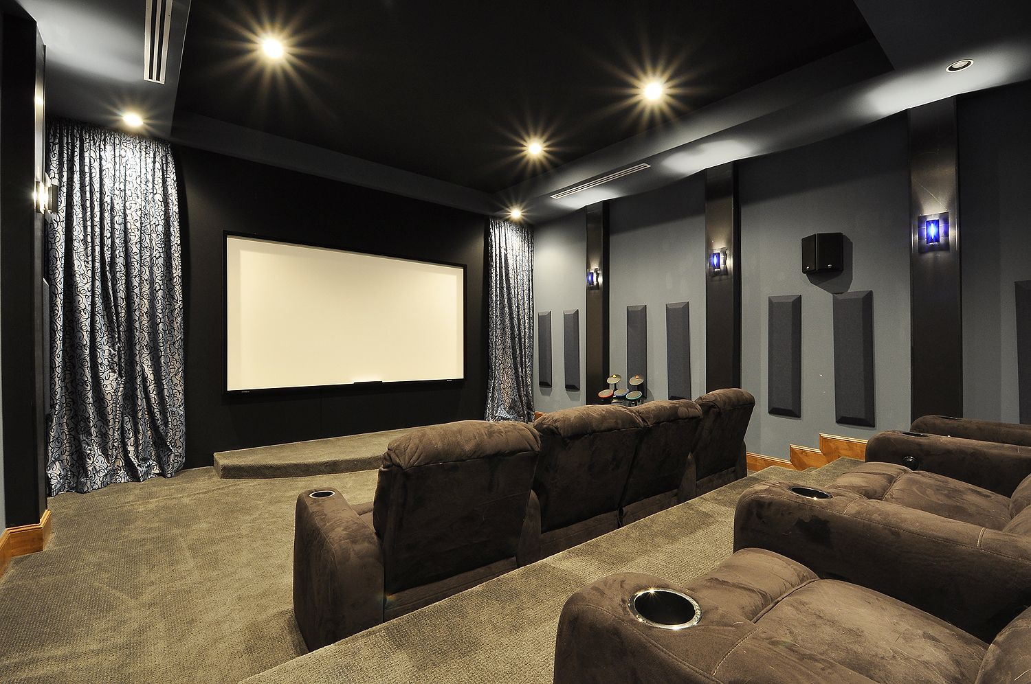 Brown Microfiber Theater Couches With Blue Grey And Black Walls Media Room
