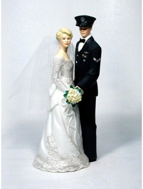 groom bride wedding cake top military Air Force flight fighter ...