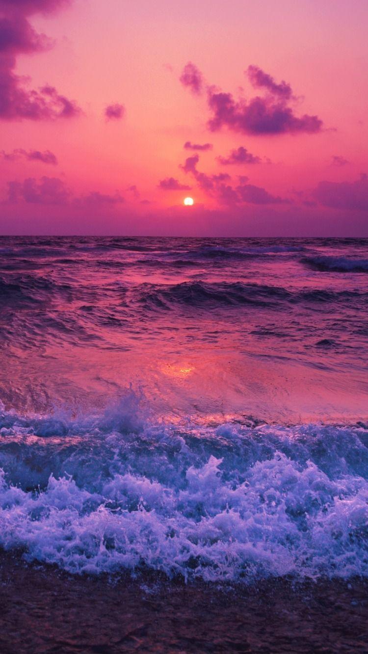 Sea, sunset, horizon, surf, foam, clouds wallpaper