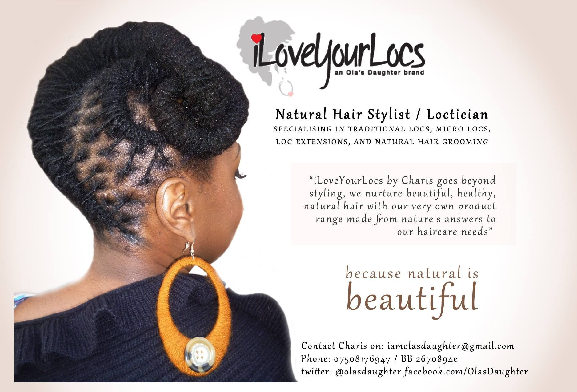 print ad for natural hair stylist and loctician