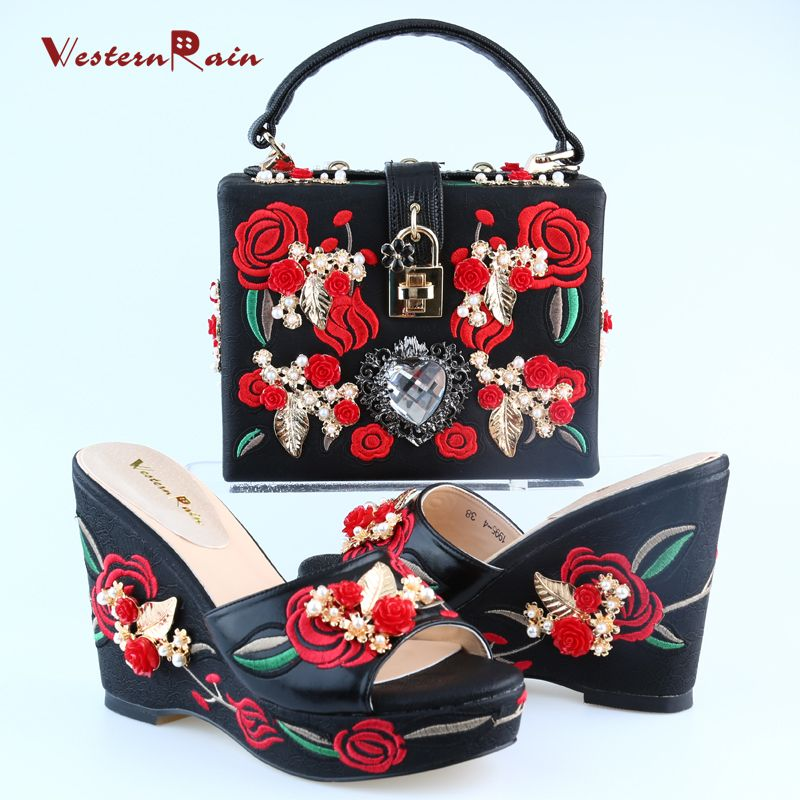 Find More Women's Pumps Information about WesternRain 2017 High End embroidery Luxury High Heel Wedge Sandals to Match With Women Party Handbag Sets 1995 1,High Quality sandals for high arches,China sandals ribbon Suppliers, Cheap sandal male from Shop717437 Store on Aliexpress.com