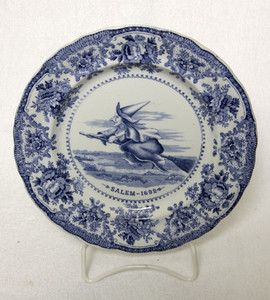Flow Blue Halloween Salem Massachusettes Witch Plate Staffordshire Adams Co Witch Plates Witch Flow Blue
