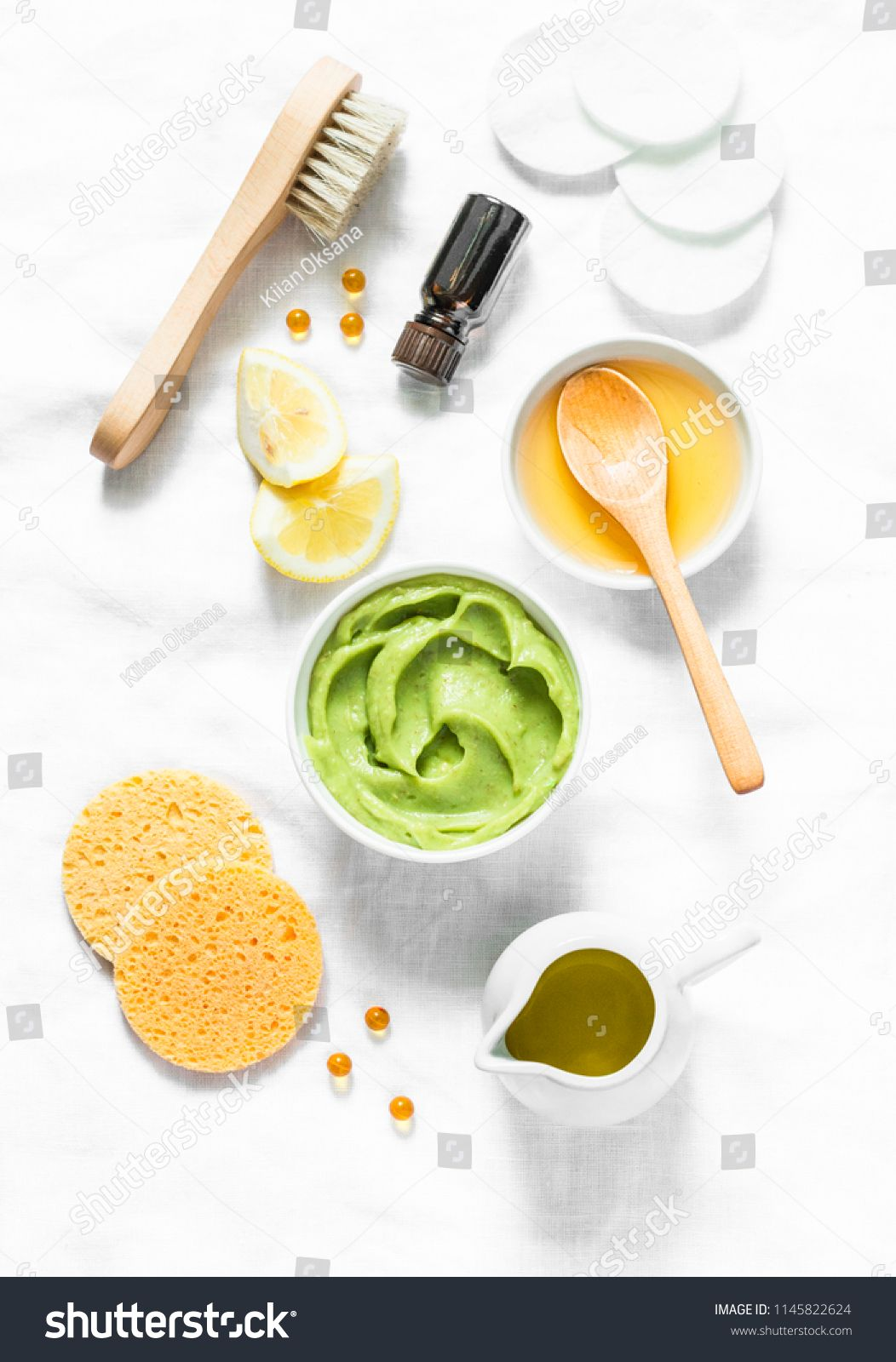 Honey And Avocado Face Mask On Light Background Top View Beauty Youth Skin Care Conce Homemade Skin Care Recipes Natural Skincare Recipes Skin Care Recipes