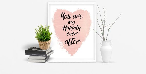Show someone that you love them with this happily ever after digital art print. Featuring a pink heart and the words You are my happily ever after in a beautiful scroll font. This printable love sign is sure to make someone smile. Digital prints are the perfect way to give someone a last minute gift, just download and print. No printer, no problem, just print at your local photo processing center.