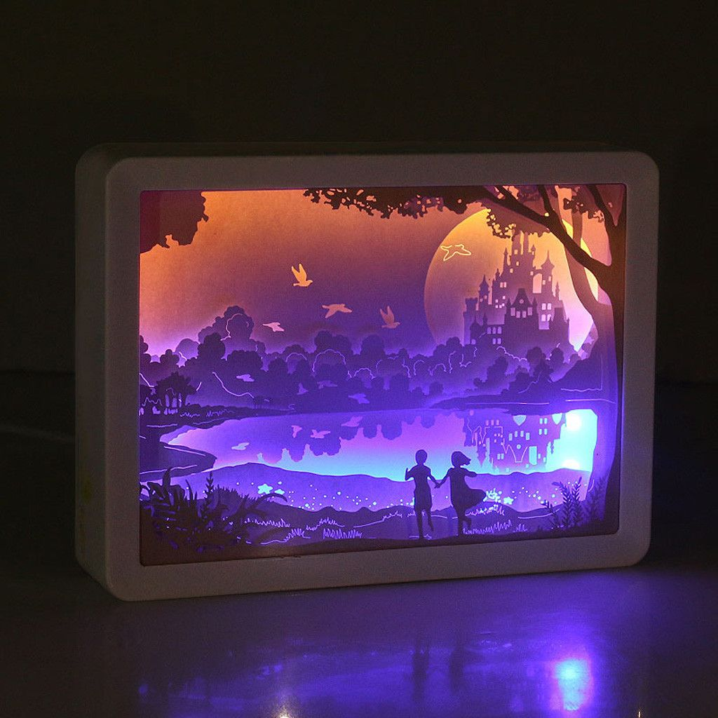 Light Shadow Paper Carved Lights Diy Creative Remote Control Small Night 1155 In 2020 Paper Carving Light Box Shadow Box