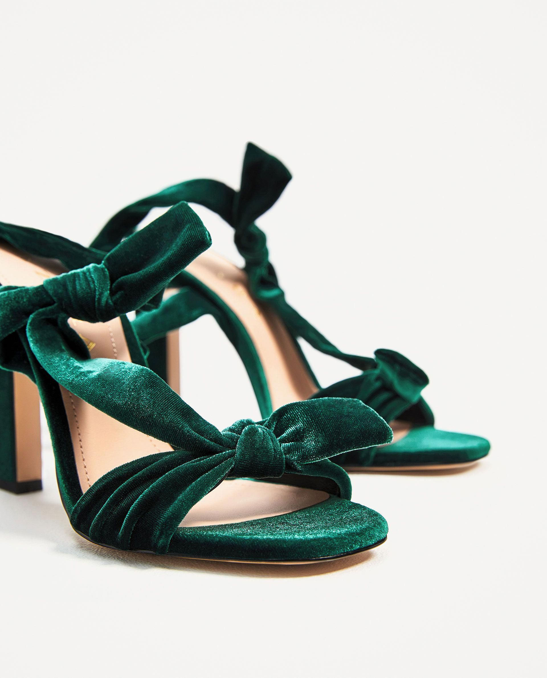 b2d430695d4 ZARA - WOMAN - VELVET LACE-UP HIGH HEEL SANDALS  YourPinterestLikes Green  Sandals