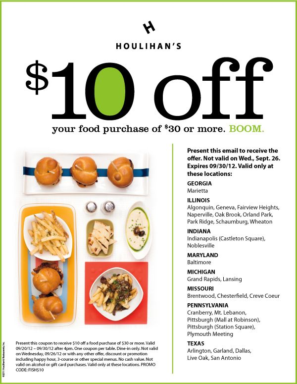 $10 off $30 at Houlihans restaurants coupon via The Coupons
