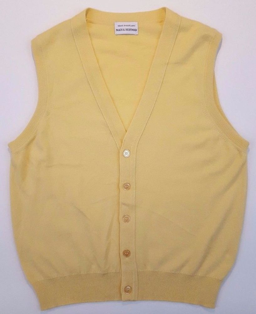 MAUS Hoffman CASHMERE Sweater VEST Yellow MENS Sleeveless SIZE ...