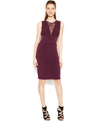 fb8322c490 Calvin Klein Illusion Lace Banded Sheath - Dresses - Women - Macy s ...