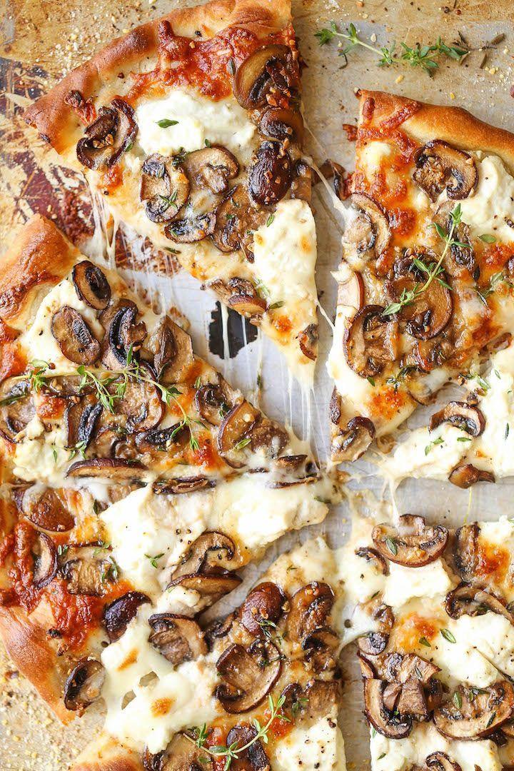 White Mushroom Pizza - Damn Delicious