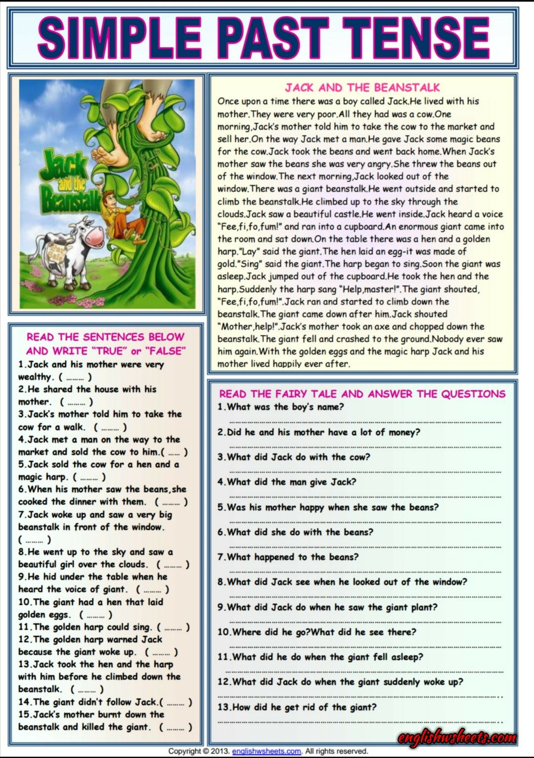 Jack And The Beanstalk Comprehension Esl Worksheet Simple Past Tense Past Tense Past Tense Worksheet