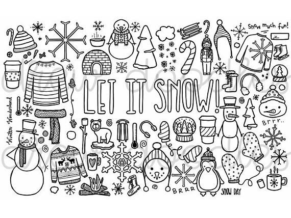 Let it Snow Coloring Page- Instant Download | Coloring ...