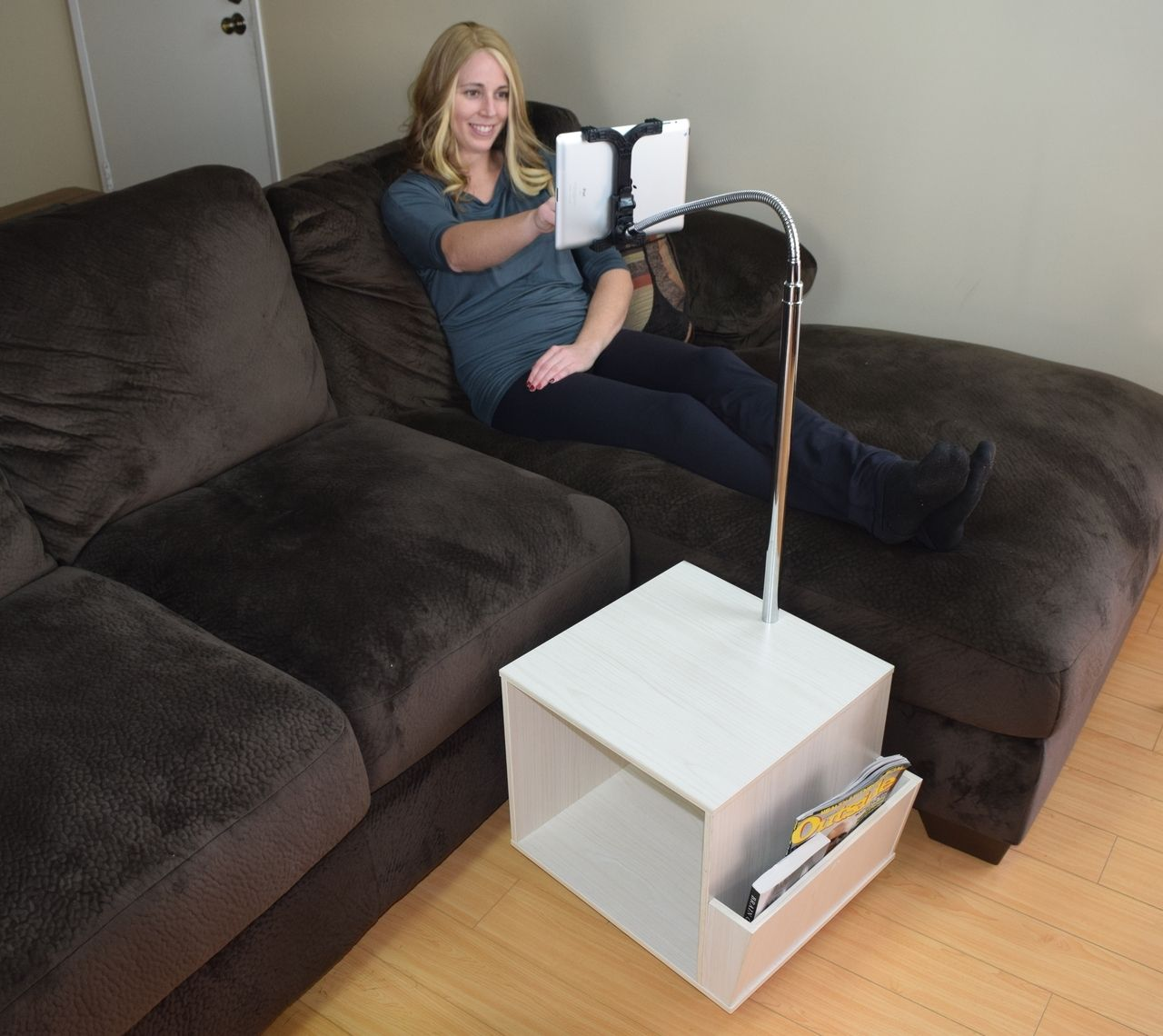 Rolling Tablet Stand By The Couch Couch Sofa Bed