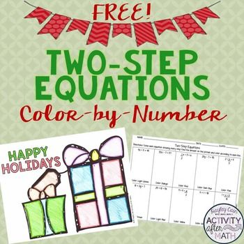 FREE TwoStep Equations Color By Number Christmas Activity