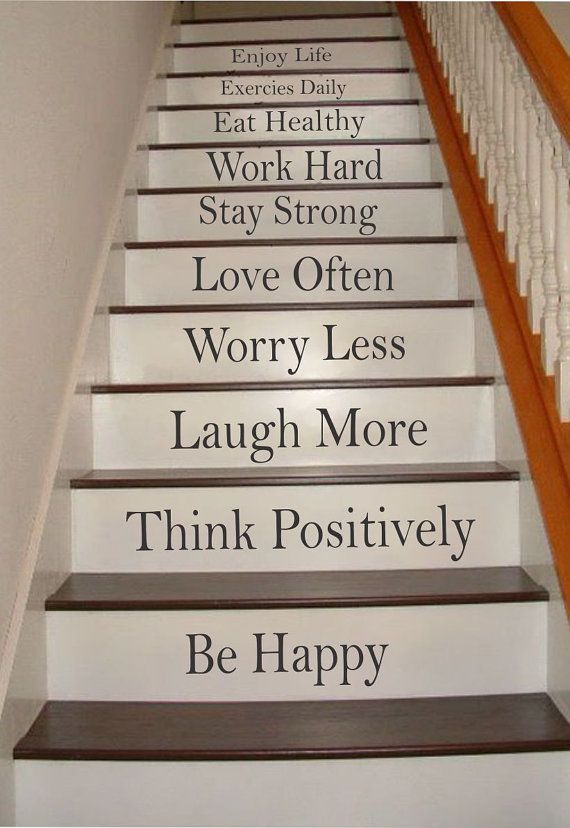 words to live by stair riser decals stair stickers by. Black Bedroom Furniture Sets. Home Design Ideas