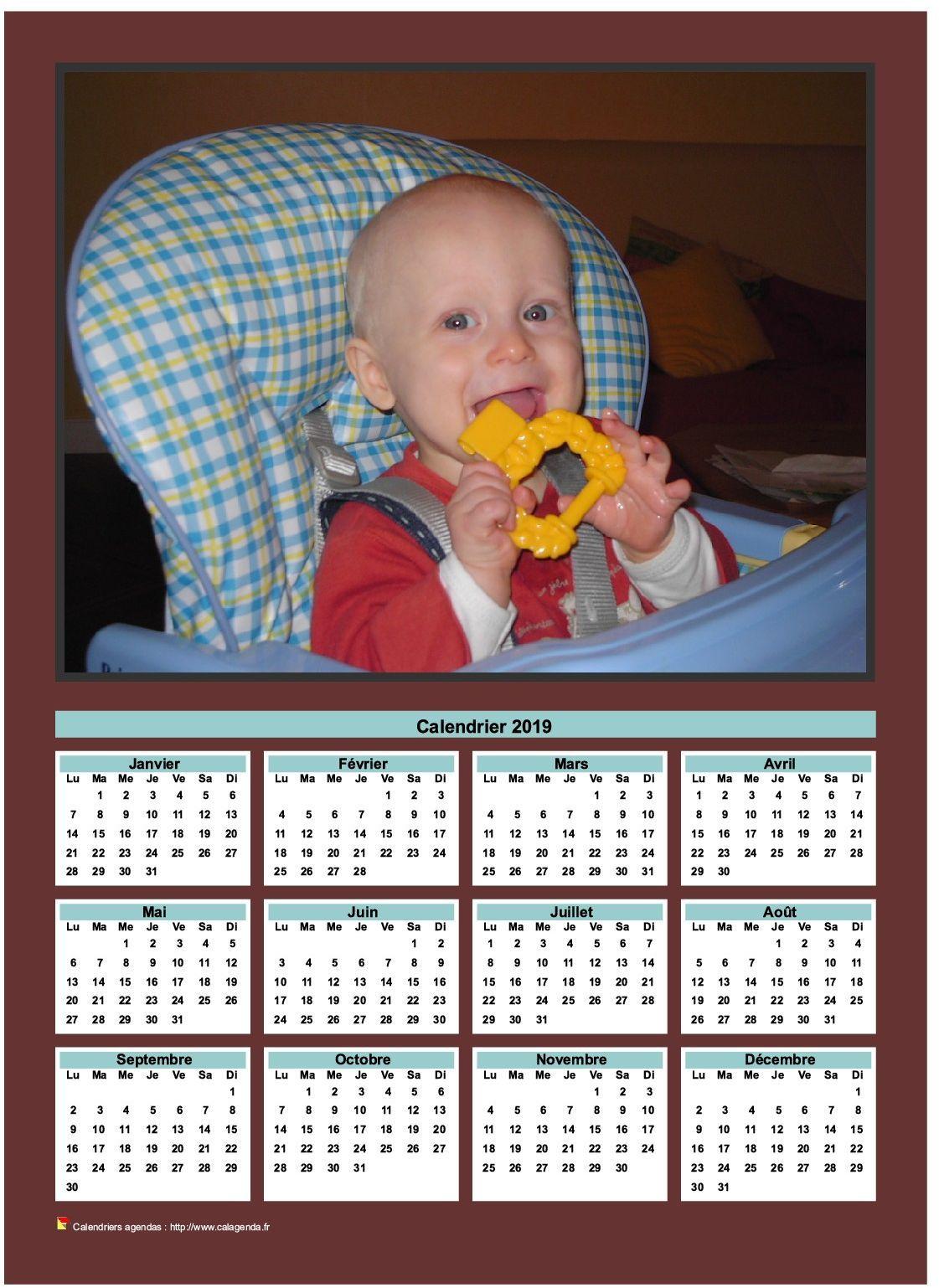 Calendrier 2019 annuel imprimer avec photo de famille calendriers 2019 calendar 2019 - Photo de violetta a imprimer gratuit ...