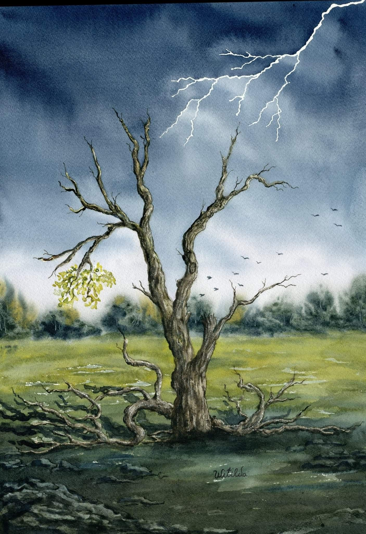 Lightning Painting Old Tree Painting Tree Wall Art Fighter Gift