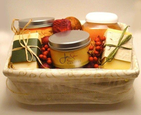 Bath and Body Gift ~ 1 8 oz Dead Sea Salt Scrub,  2 organic soap bars,  2 travel tin candles via Etsy
