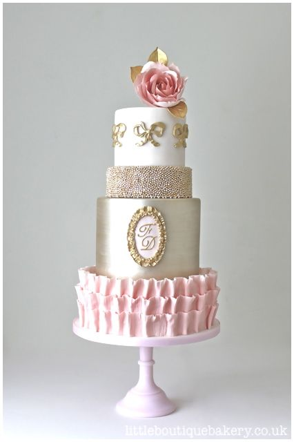 Blush Pink Gold Antoinette Wedding Cake