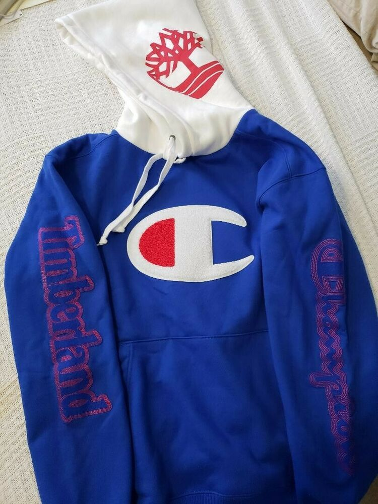 latest discount super cheap hot products Champion x Timberland Hooded Sweat Shirt Blue Red New Men ...