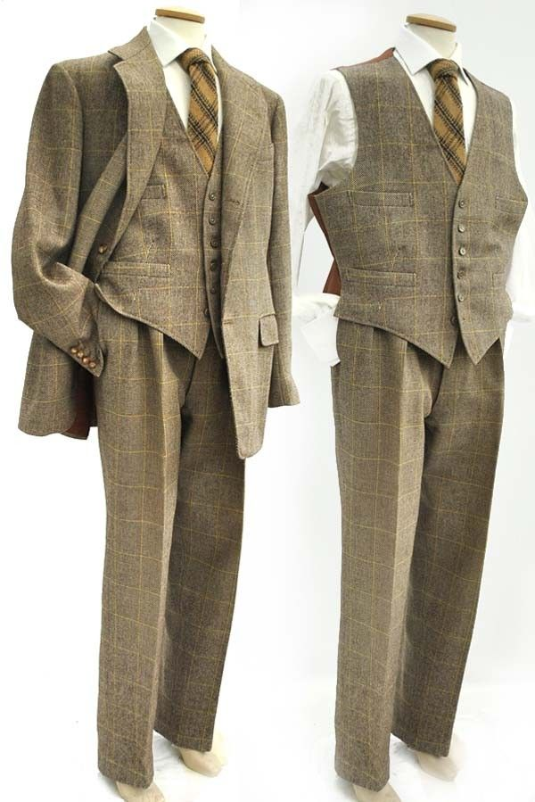 Vintage 1954 light brown and yellow windowpane check tweed 3 piece ...