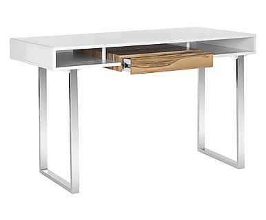 Scrivania 1 cassetto in legno e metallo Brooklyn bianco/acciaio, 119x79x39 cm