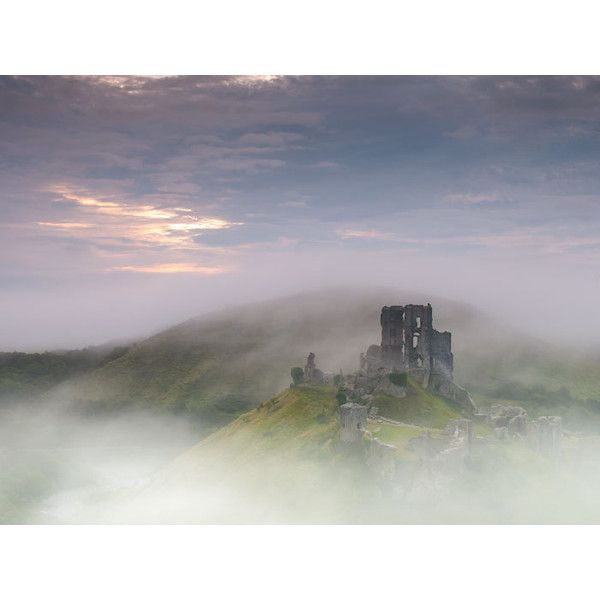 English Castle Ruin, Landscape Photography. Corfe Castle, England... (€29) ❤ liked on Polyvore featuring home, home decor, wall art, photo wall art and english home decor