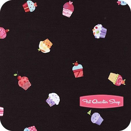 Sweet Things Black Tossed Cupcakes Yardage SKU# LH12153-BLACK for aprons?
