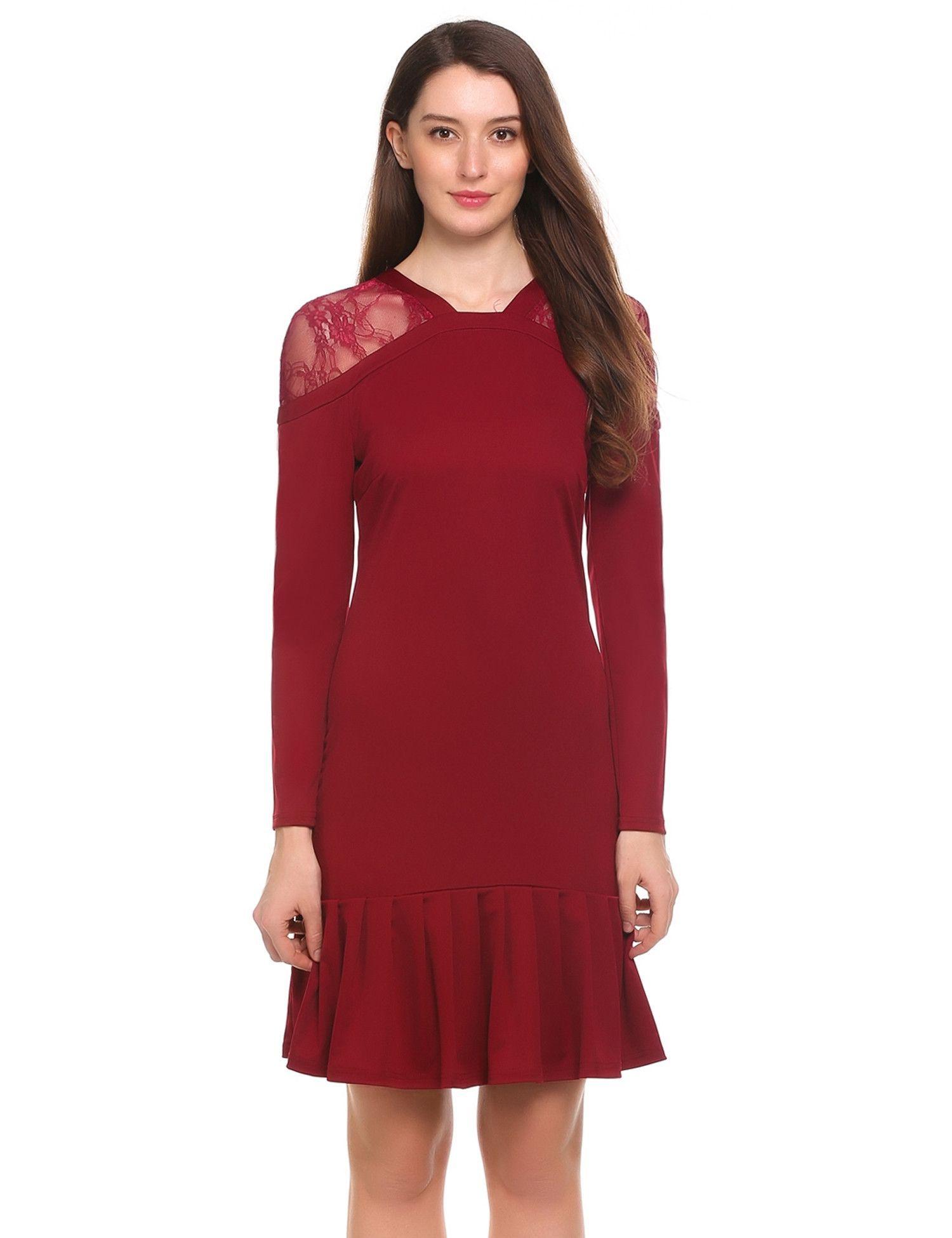 Red vneck long sleeve patchwork lace pleated hem dress patchwork