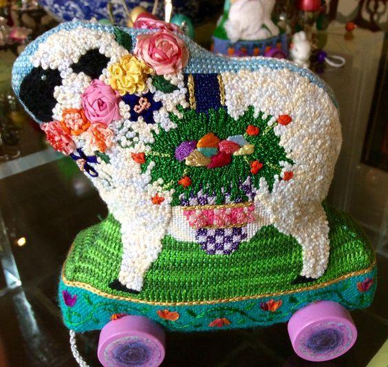 needlepoint sheep, designer unknown: