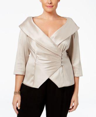 Alex Evenings Plus Size Rhinestone Button Portrait Collar Blouse