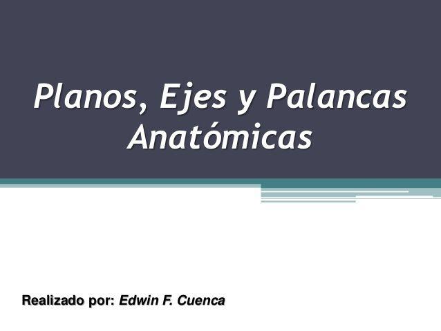 Planos, Ejes y Palancas Anatómicas Realizado por: Edwin F. Cuenca ...
