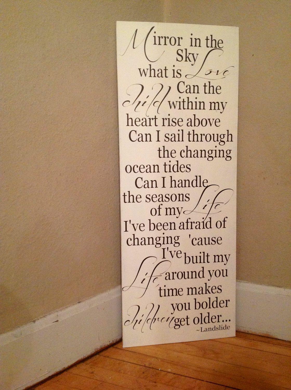 Landslide lyrics Fleetwood Mac wood sign rustic by TheBarnWoodSign ...