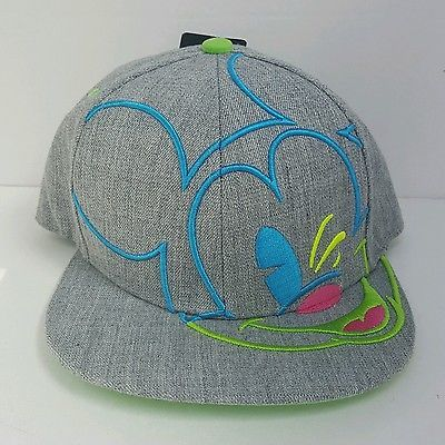 56fad7d29 Disney Mickey Mouse Gray Neon Colors Outlined Snapback Hat Cap Flat ...