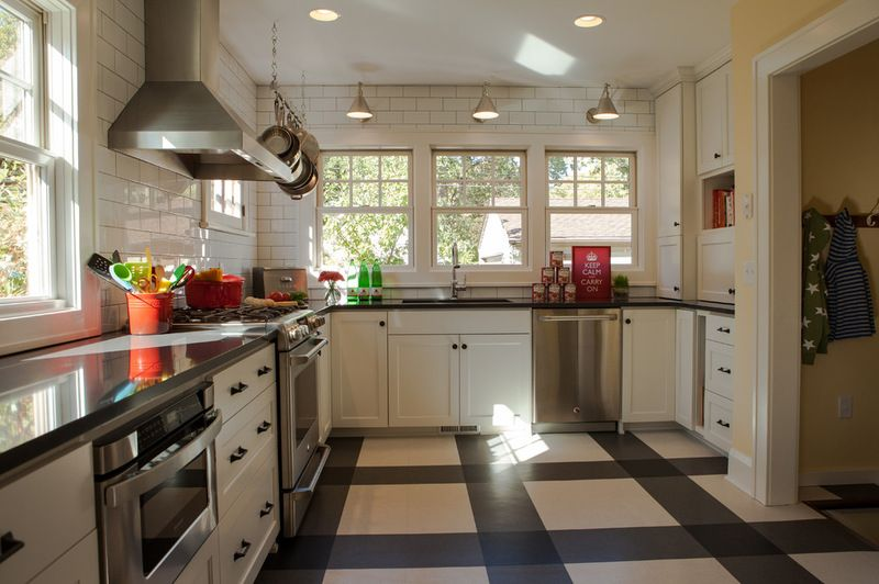 Plaid Vinyl Floor White Dark Grey And Black Traditional Kitchen By Fiddlehead Design Group