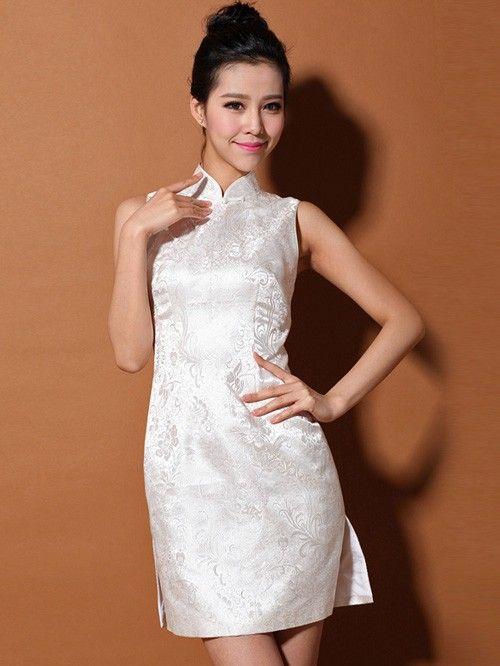 69260c4828b99 Silver White Sleeveless Short Silk Qipao   Cheongsam Dress