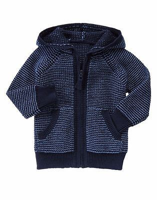acaa40611 GYMBOREE Baby Boy Navy Full Zip Hooded Sweater Knit Hoodie Size 6 ...