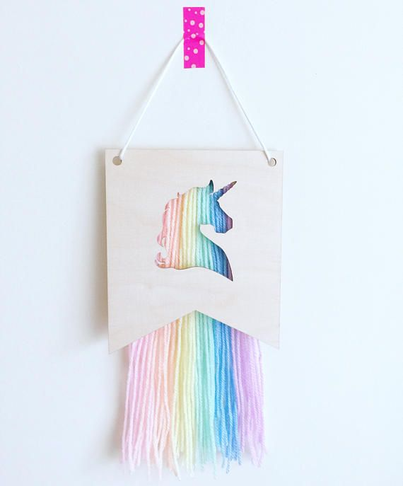Small unicorn wall hanger unicorn decor scandi style for Pastel diy room decor