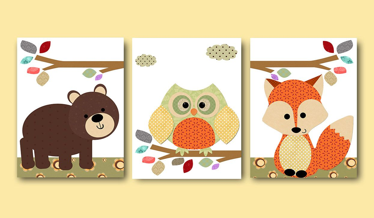 Orange Green Gray Fox Owl Bear Canvas Art Nursery Wall Art Baby Room ...