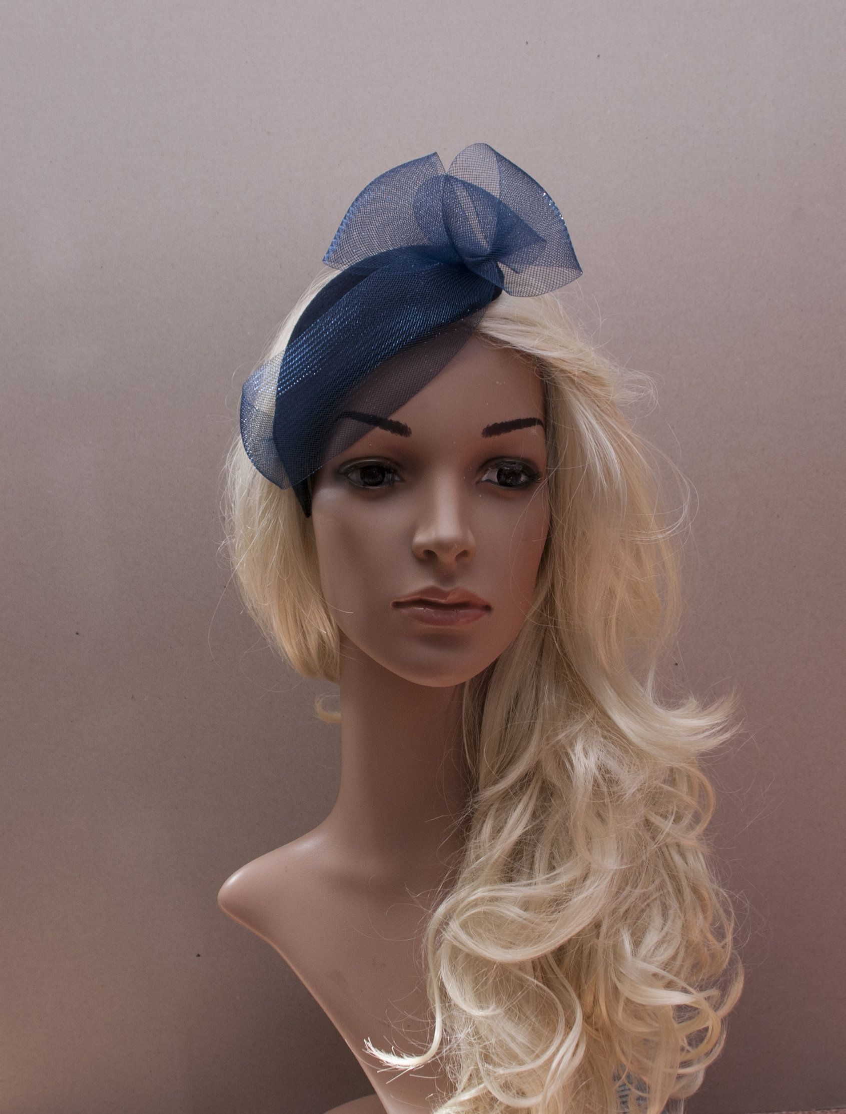 release info on undefeated x multiple colors Navy blue minimalist felt fascinator, navy fascinator hat ...