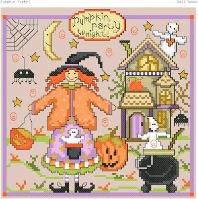 Pumpkin Party cross stitch pattern