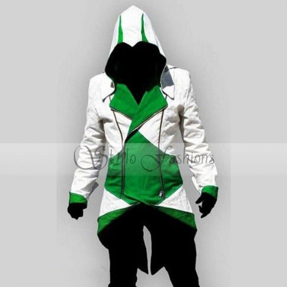 ssassin's Creed 3 Game Conner Kenway Green-White Costume we offers Jacket  Assassins Creed Coat