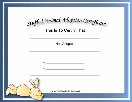image relating to Free Printable Adoption Certificate known as This free of charge, printable, loaded animal adoption certification is
