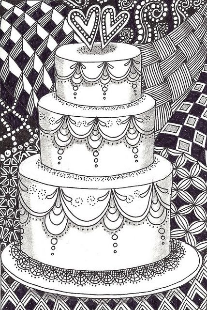 Zentangle cakes | zentangle: wedding cake surrounded by ...
