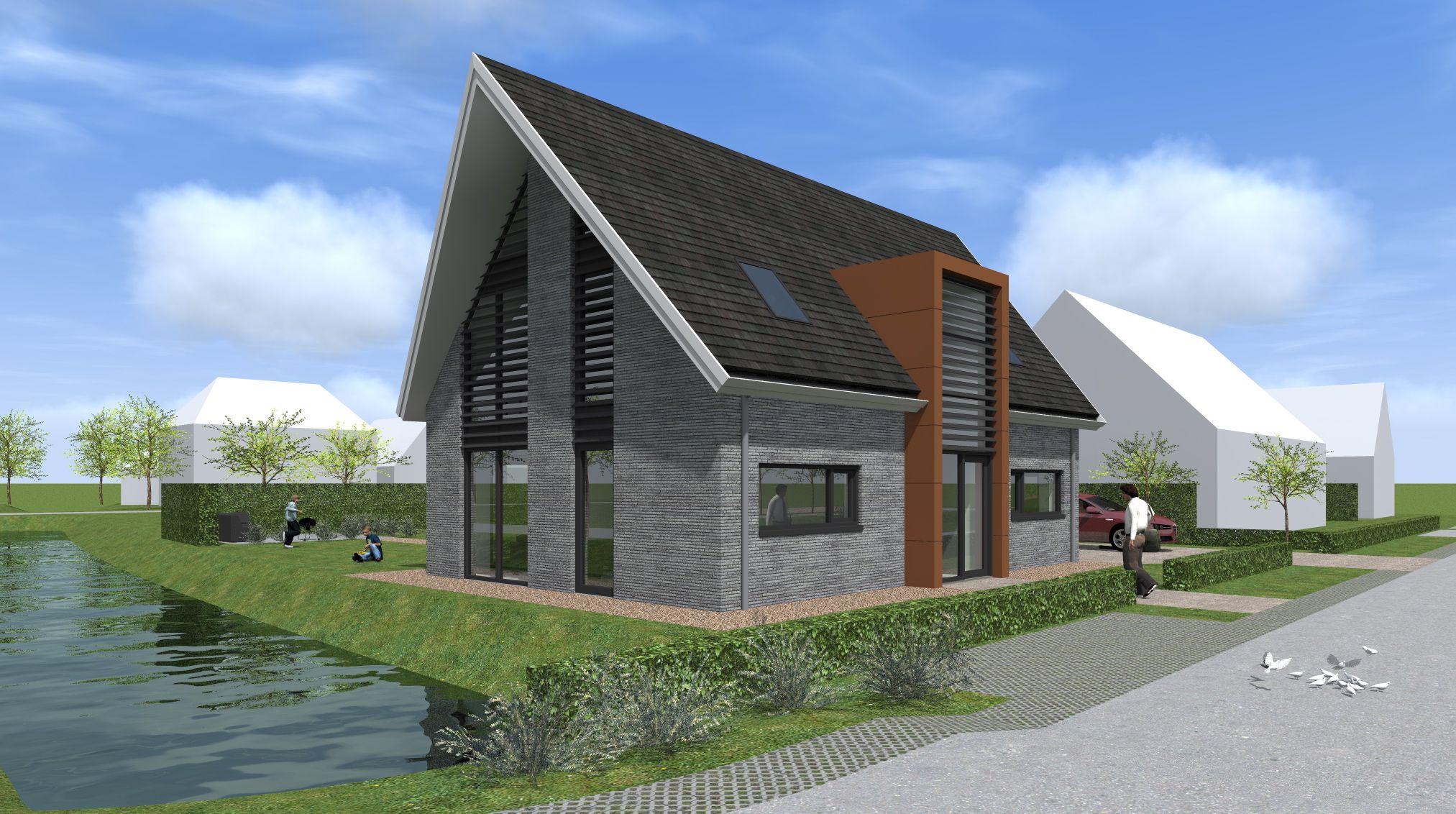 Ontwerp van een moderne nieuwbouwwoning te schoonhoven. met de