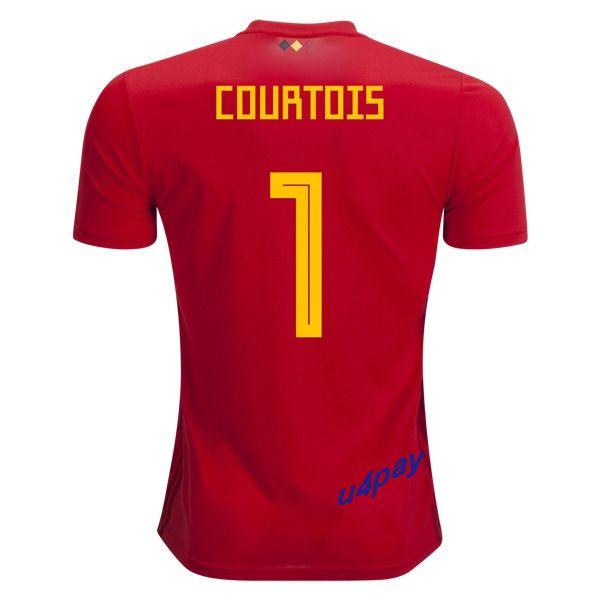 ec3ed5819 Thibaut Courtois 1 2018 FIFA World Cup Belgium Home Soccer Jersey ...