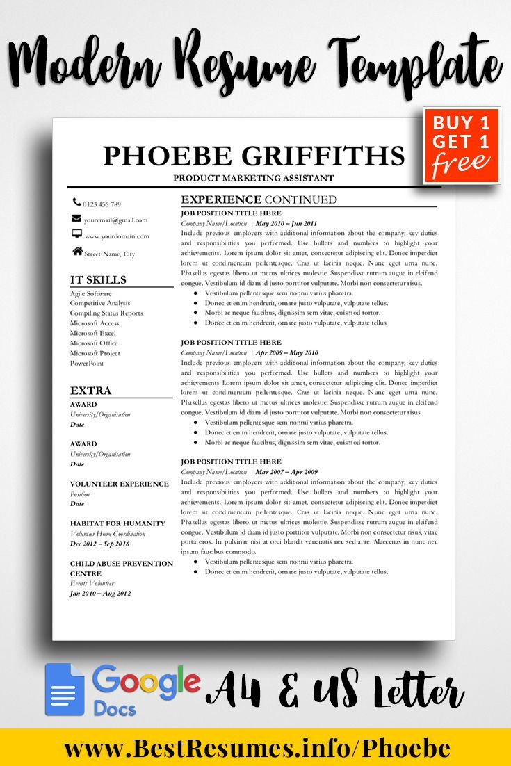 Professional Resume Template Phoebe Griffiths Resume