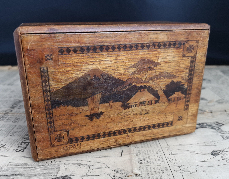 Vintage Japanese Puzzle Box Inlaid Wood Himitsu Bako Japanese Puzzle Box Japanese Puzzle Puzzle Box