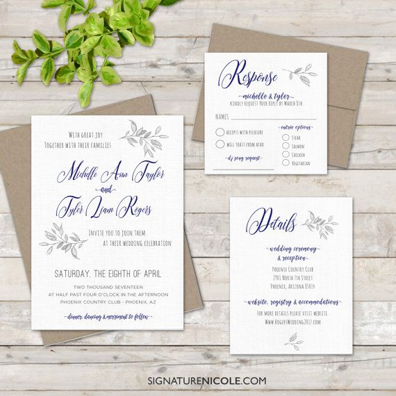Items Similar To Elegant Fl Wedding Invitation With Rsvp And Detail Cards Quick Delivery Flowers Organic Script Simple Elegance